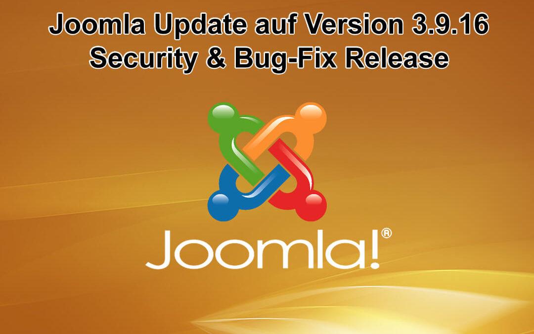 Joomla Update auf Version 3.9.16 erschienen