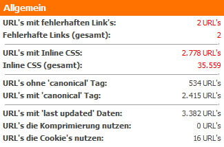 Allgemeine Zusammenfassung des WebsiteAnalyser Dashboards