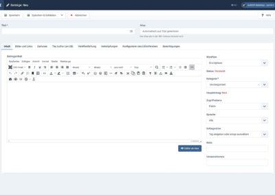 Joomla4 - Ansicht - Integrierter Editor
